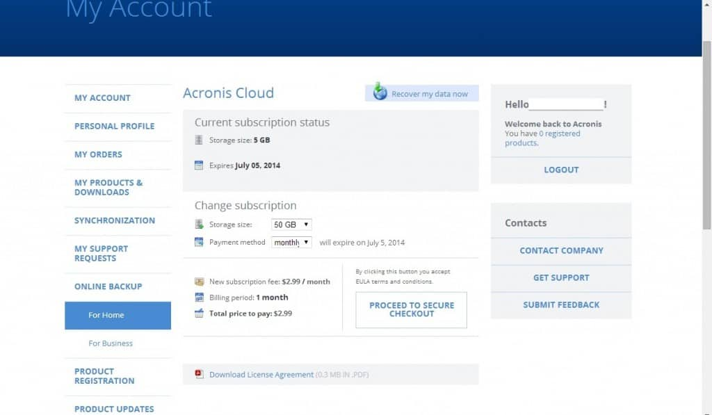 Online account in Acronis True Image