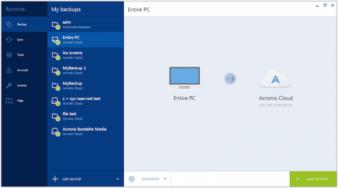 Full PC backup with Acronis True Image