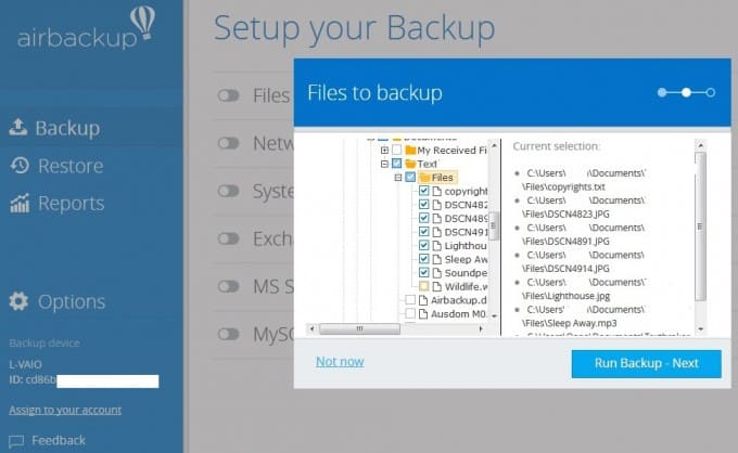 Selecting files for backup in airbackup