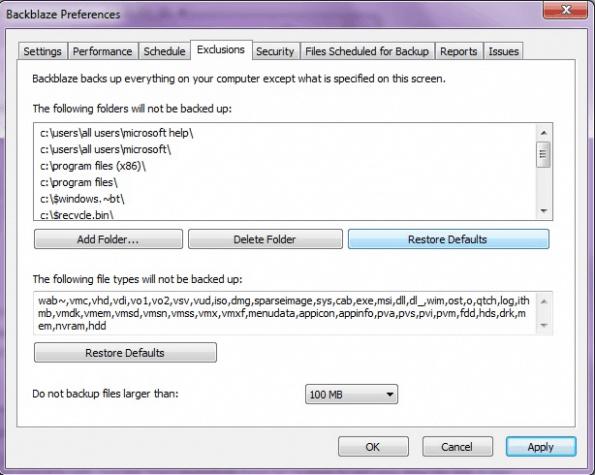 Backup exclusion settings in the Backblaze desktop app