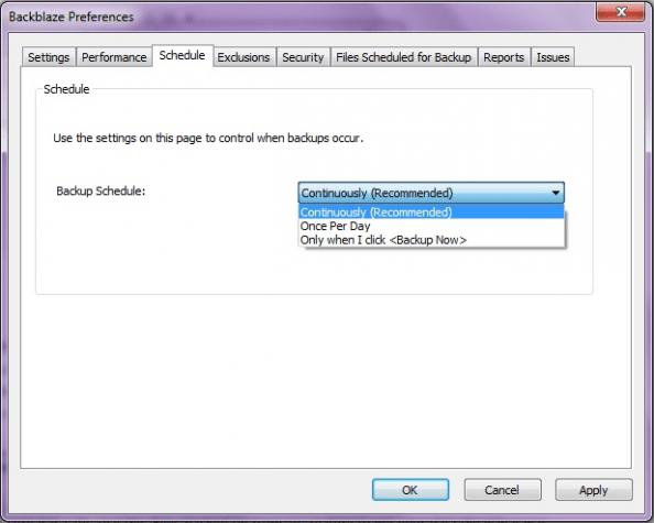 Scheduling backups in the Backblaze desktop app