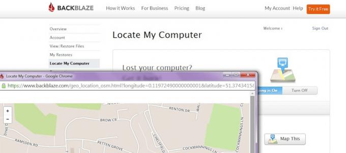 Lost computer locator in Backblaze