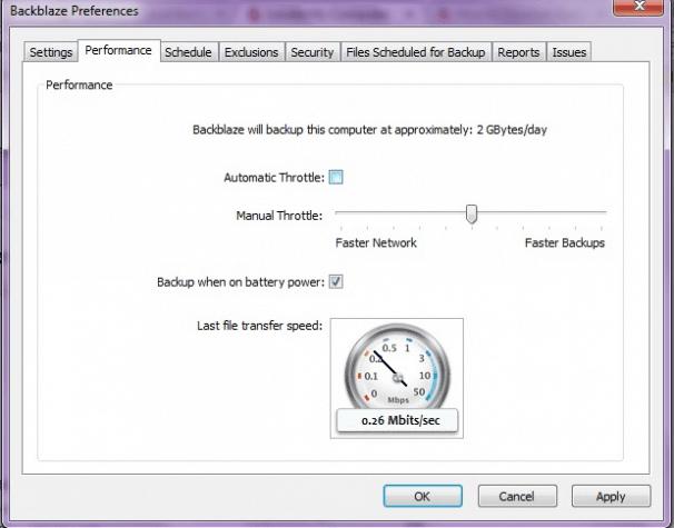 Setting the backup speed and throttling in the Backblaze desktop app