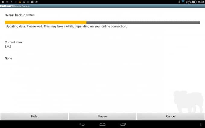 BullGuard Online Backup on Android tablet