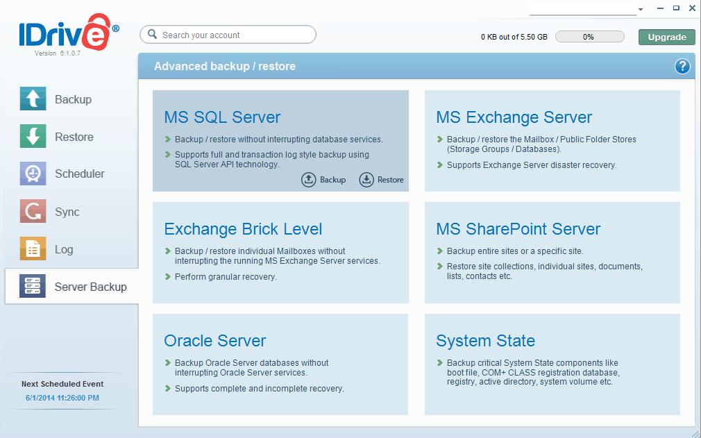 Server backups in IDrive desktop client