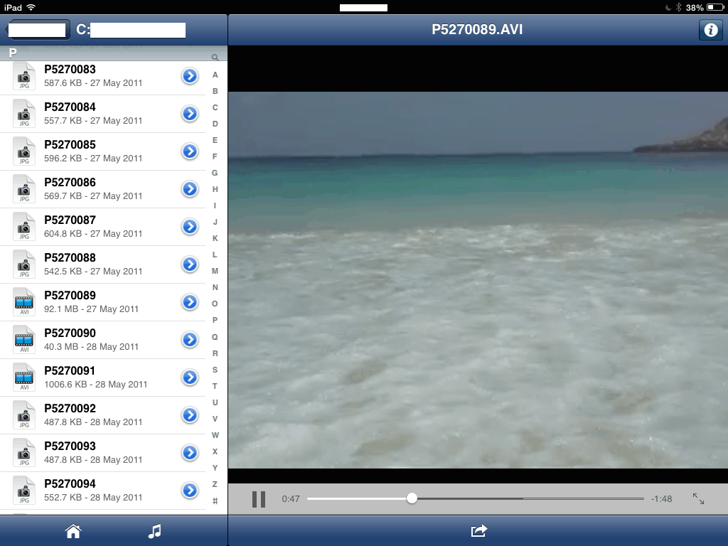 Video player in the Livedrive app