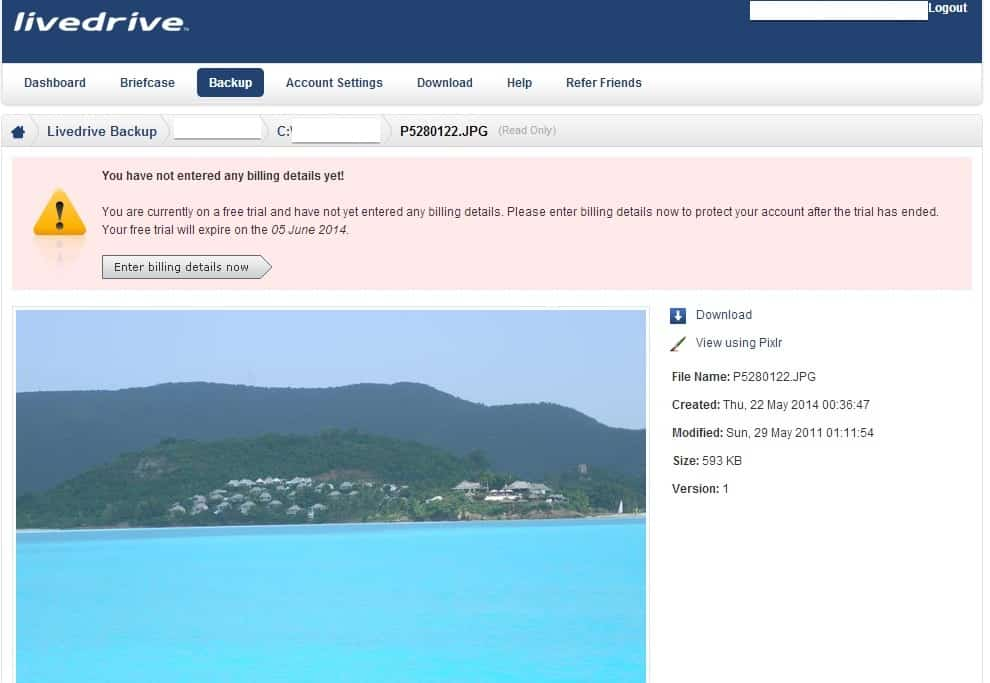 Photo album viewer in Livedrive online account