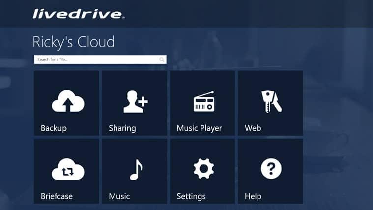 Livedrive Windows 8 app