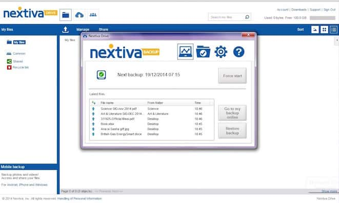 Setting a backup schedule in the Nextiva Drive PC app