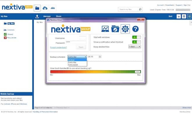 Nextiva Drive settings in the PC app
