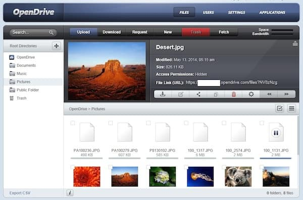 Picture browser in OpenDrive