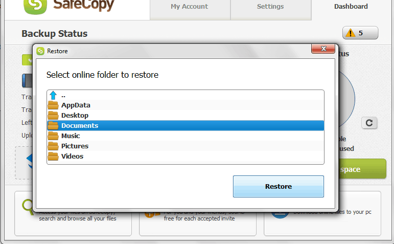 Restoring folders backed up with SafeCopy