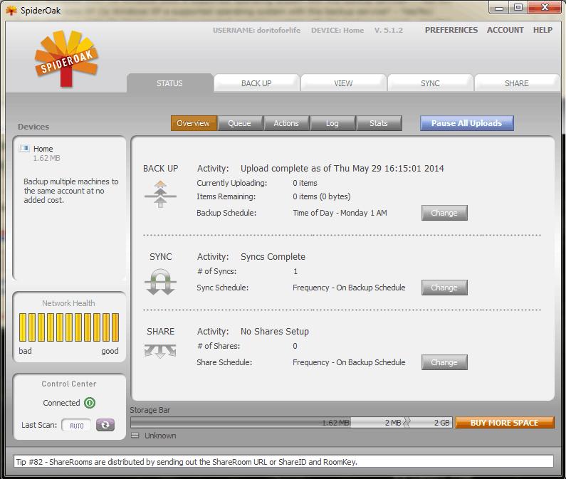 Backup in progress in SpiderOak desktop client